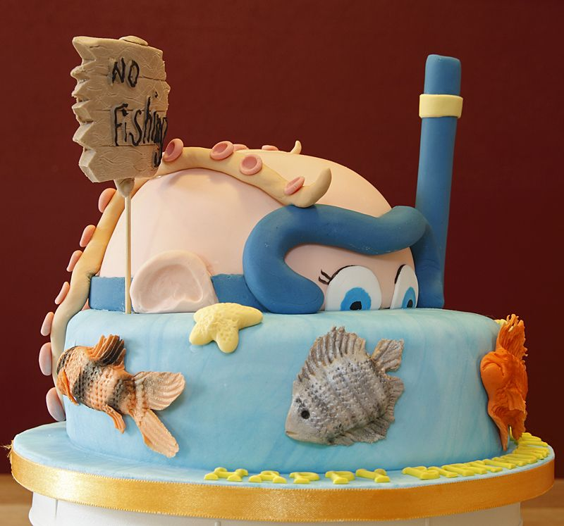 2 Tiered Sea Diver, NO FISHING Cake with handmade fondant fish