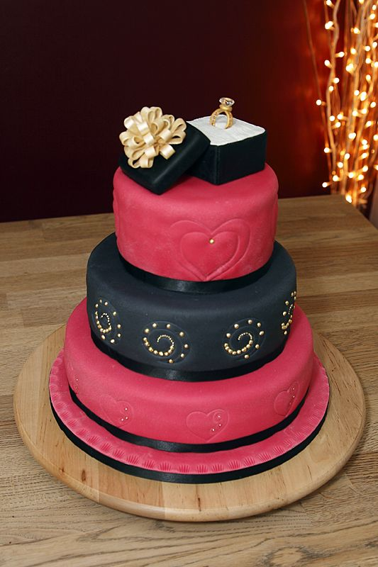 3 Tier Engagement Cake with handmade fondant ring with ...