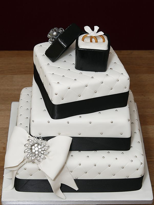 3 Tier Wedding Or Anniversary Cake With Handmade Fondant Rings Ring Box Amp Bow