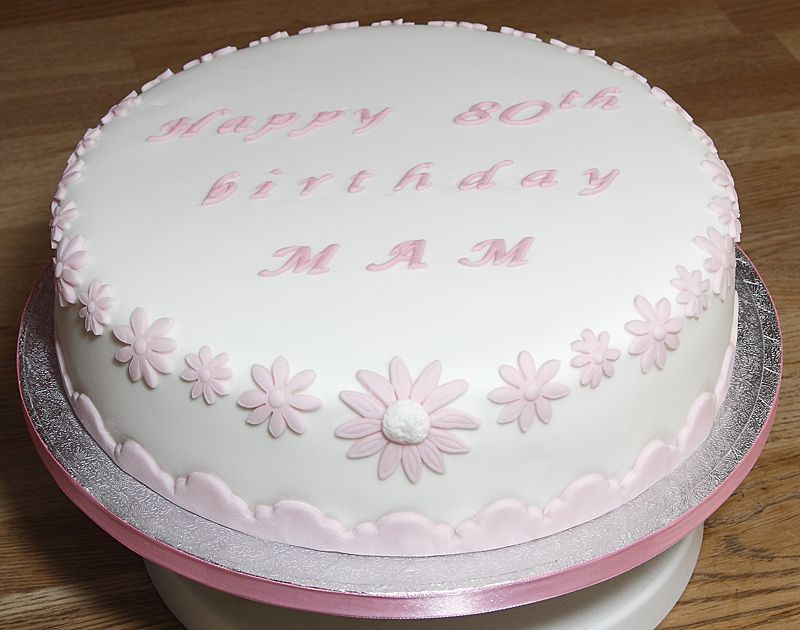 Traditional Style Birthday Cake With Fondant Flowers And Patterned