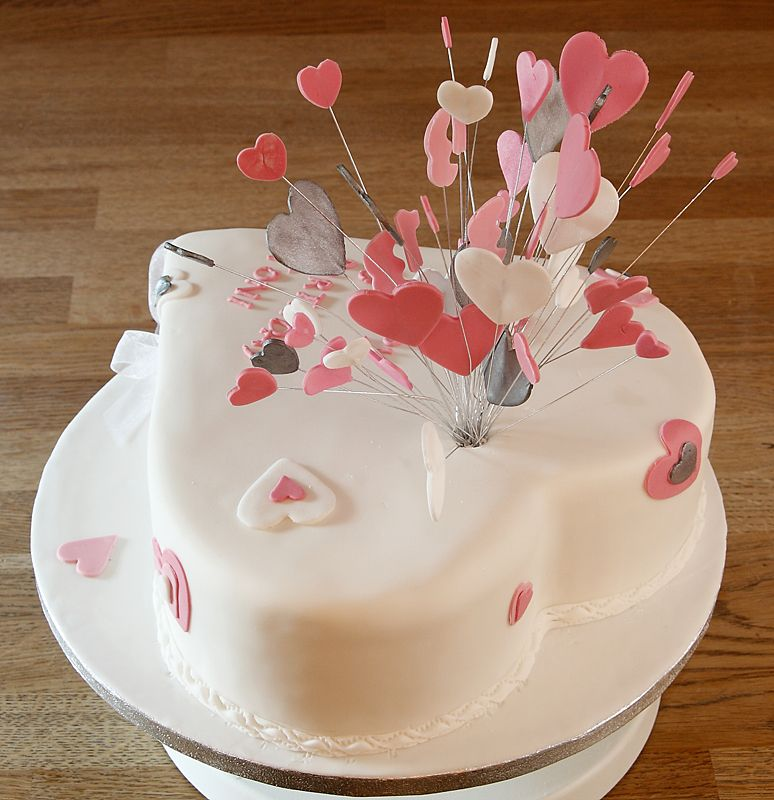 Heart Shaped Cake with handmade fondant heart burst ...