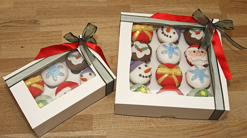 Cake Decorating Gifts Uk : Gift Boxed Christmas Cupcakes decorated with fondant Santa ...