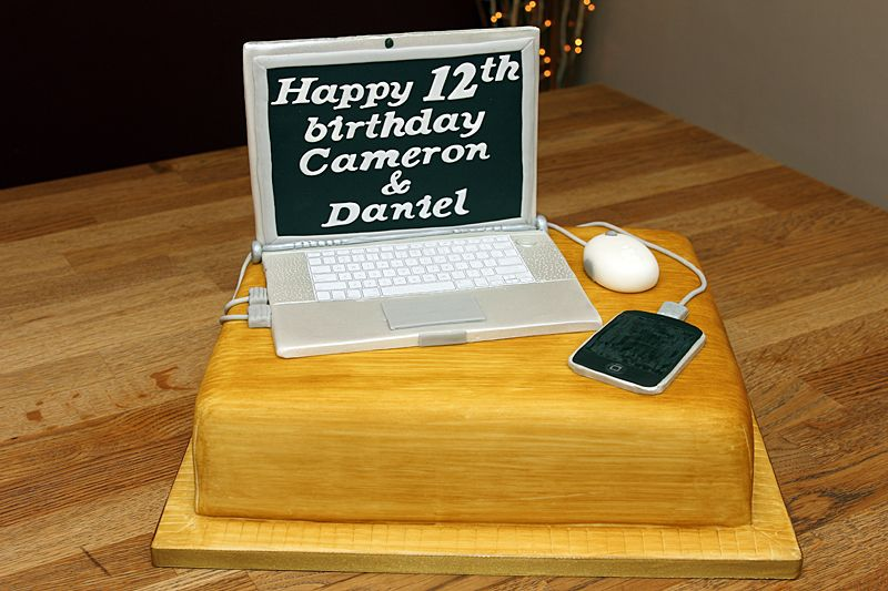 MacBook Pro Lap Top Cake with handmade fondant MacBook and ...