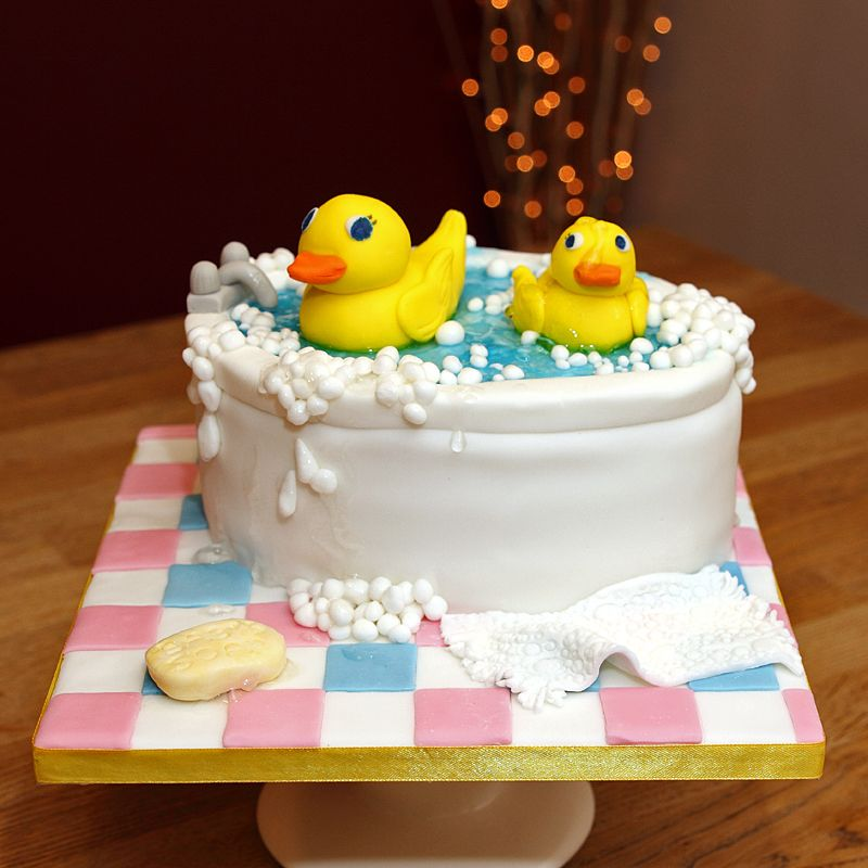 Fondant ducks in bath cake with edible bubbles &  water