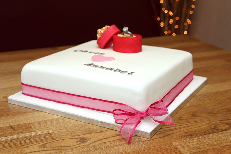 Engagement Cake 2 with handmade fondant diamond ring and ...