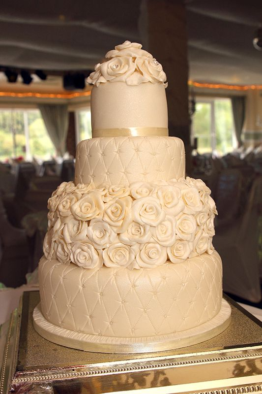Quilted Wedding Cake with handmade fondant roses, edible pearls and ...