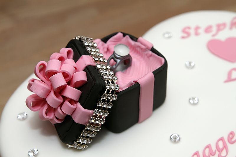 Heart shaped engagement cake with handmade fondant ring for Heart shaped engagement ring box