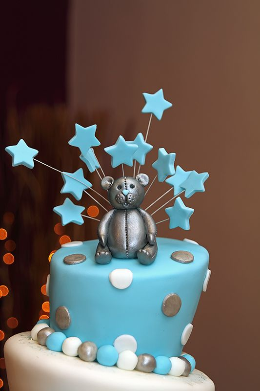 Boys 3 tier Wonky (Topsy Turvy) Christening Cake with ...