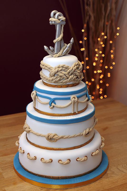 Nautical Wedding Cake Handmade Fondant Ropes Amp Anchors