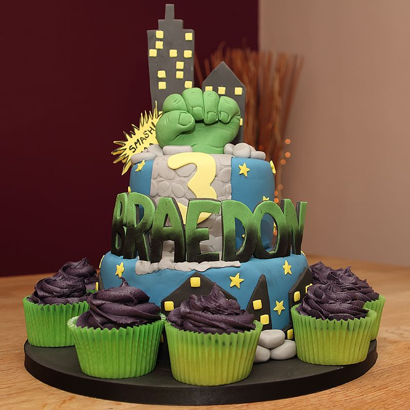The Incredible Hulk Fist 2 Tier Cake with fondant cutout name and