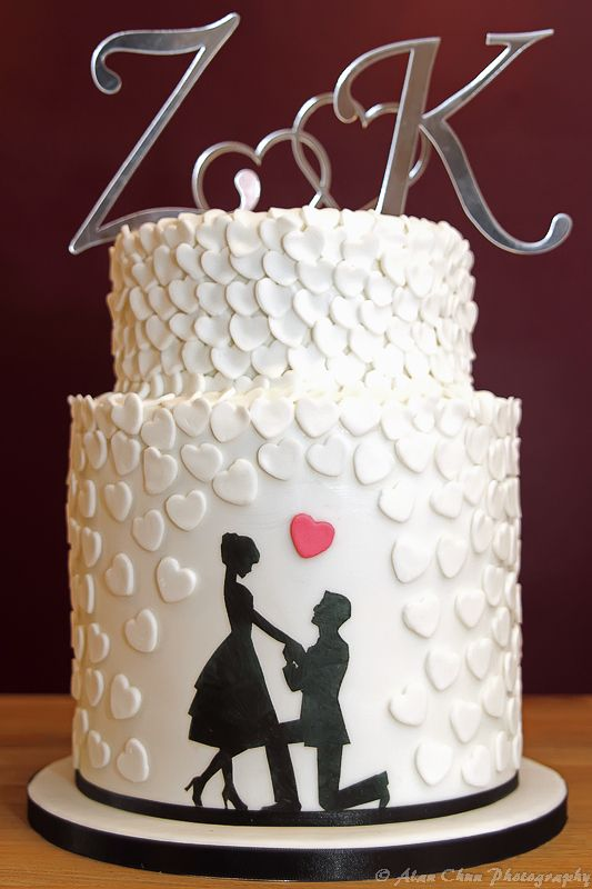 Cake Decorations For Engagement Cake : 3 Tier Silhouette & Heart Engagement Cake