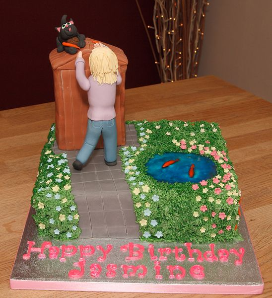 Two Tier Garden Scene Cake With Handmade Fondant Cat & Girl
